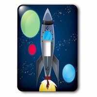 Jazzy Wallplates - Kids - Single Toggle Switchplate With Rocket Ship With Planets Design On A Dark Blue Background