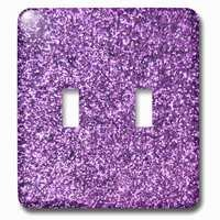 Jazzy Wallplates - Kids - Double Toggle Wallplate With Purple Faux Glitter Photo Of Glittery Texture Fashionable Girly Trendy Glam Sparkly Bling Effect