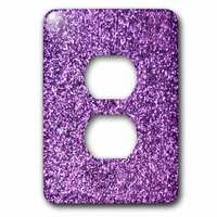 Jazzy Wallplates - Kids - Single Duplex Switchplate With Purple Faux Glitter
