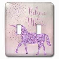 Jazzy Wallplates - Kids - Double Toggle Wallplate With Glittering Unicorn And Test Believe In Magic