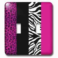 Jazzy Wallplates - Kids - Double Toggle Wallplate With Pink Black And White Animal Print Leopard And Zebra