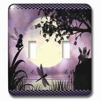 Jazzy Wallplates - Kids - Double Toggle Wallplate With Fairies And Dragonflies With An Purple Moon