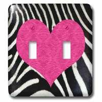 Jazzy Wallplates - Kids - Double Toggle Wall Plate With Punk Rockabilly Zebra Animal Stripe Pink Heart Print