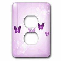 Jazzy Wallplates - Kids - Single Duplex Wallplate With Dark And Light Purple Dangling Butterflies