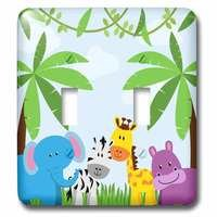 Jazzy Wallplates - Kids - Double Toggle Wallplate With Jungle Animals Scene