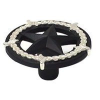 Wild Western Hardware - Two-Tone - Ornamental Star Knob in Matte Black and Nickel