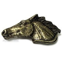 Wild Western Hardware - Antique Brass - Horse Head Right Pull in Antique Brass