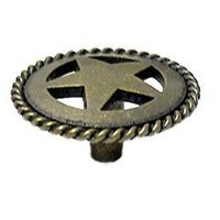 Wild Western Hardware - Antique Brass - Medium Star Knob with Braided Edge in Antique Brass