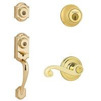 Kwikset Signature Series - Montara Double Cylinder Handleset with Lido Interior Active Handleset Trim Left Hand Door Lever & Double Cylinder Deadbolt In Bright Brass