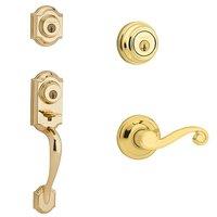 Kwikset Signature Series - Montara Double Cylinder Handleset with Lido Interior Active Handleset Trim Right Hand Door Lever & Double Cylinder Deadbolt In Bright Brass