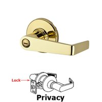 Kwikset Door Hardware - Kingston - Light Commercial Kingston Privacy Door Lever in Bright Brass