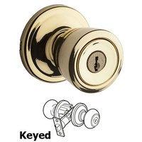 Kwikset Door Hardware - Abbey - Abbey Keyed Entry Door Knob in Bright Brass