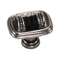 "Laurey Hardware - Sirocco - 1 3/8"" Knob in Silverado with Black Leather Wrap"
