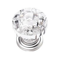 "Laurey Hardware - Kristal - 1 1/4"" Acrystal Knob in Acrylic with Brass Base"