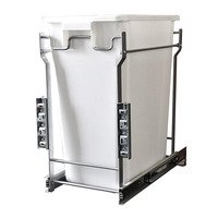 Laurey Hardware - Trash Can Systems - 35L Single-Bottom Mount- Pull-Out  Waste Bin w Door Mounting Kit