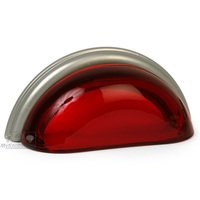"Lews Hardware - Glass Cup Pull - 3"" (76mm) Centers Cup Pull in Transparent Ruby Red/Brushed Nickel"