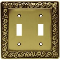 Liberty Hardware - Switchplates I - Double Toggle in Tumbled Antique Brass