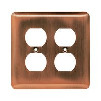 Liberty Hardware - Switchplates I - Brainerd Stamped Steel Round Double Duplex Outlet in Antique Copper