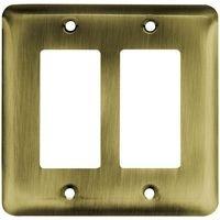 Liberty Hardware - Switchplates I - Brainerd Stamped Steel Round Double GFI/Rocker in Antique Brass