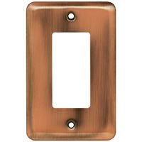 Liberty Hardware - Switchplates I - Brainerd Stamped Steel Round Single GFI/Decora in Antique Copper