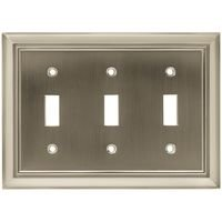 Liberty Hardware - Switchplates II - Triple Toggle in Satin Nickel