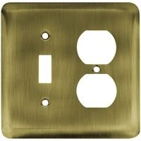 Liberty Hardware - Switchplates I - Brainerd Stamped Steel Round Combo Single Toggle Single Outlet in Antique Brass