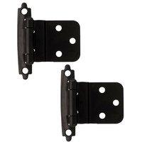 Liberty Hardware - Cabinet Accessories - 3/8 Inset Self-Closing Hinge, 2 per pkg in Flat Black