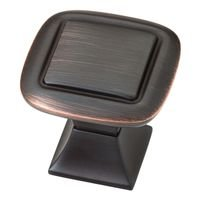 "Liberty Hardware - Southampton - 1 1/4"" Square Knob with Square Base in Bronze with Copper Highlights"