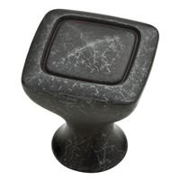 "Liberty Hardware - Iron Craft II - 1 1/8"" Rustic Square Knob in Wrought Iron"
