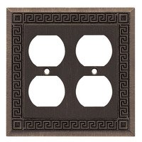 Liberty Hardware - Switchplates - Double Duplex Outlet in Brushed Oil Rubbed Bronze