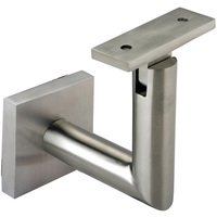 Linnea Hardware - Hand Rail Brackets - Square Mount Base and Tubular Arm with Flat Clamp Glass Mounted Hand Rail Bracket in Satin Stainless Steel