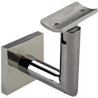 Linnea Hardware - Hand Rail Brackets - Square Mount Base and Tubular Arm with Curve Clamp Surface Mounted Hand Rail Bracket in Polished Stainless Steel
