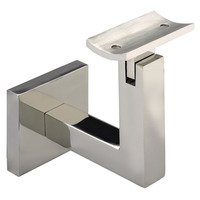 Linnea Hardware - Hand Rail Brackets - Square Mount Base and Squared Arm with Curve Clamp Surface Mounted Hand Rail Bracket in Polished Stainless Steel