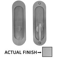 "Linnea Hardware - Pocket Door Locks - 6 5/16"" Oval Privacy Pocket Door Lock with ADA Turn Piece in Polished Stainless Steel"