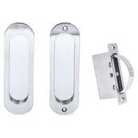 "Linnea Hardware - Pocket Door Locks - 6 1/4"" Oval Passage Pocket Door Lock in Polished Stainless Steel"