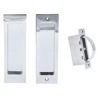"""Linnea Hardware - Pocket Door Locks - 6 1/4"""" Rectangular Passage Pocket Door Lock in Polished Stainless Steel"""