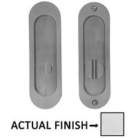 "Linnea Hardware - Pocket Door Locks - 6 1/4"" Oval Privacy Pocket Door Lock with Standard Turn Piece in Polished Stainless Steel"