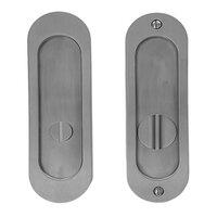"Linnea Hardware - Pocket Door Locks - 6 1/4"" Oval Privacy Pocket Door Lock with Standard Turn Piece in Satin Stainless Steel"