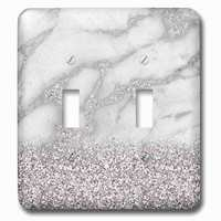 Jazzy Wallplates - Marble - Double Toggle Wallplate With Luxury Grey Silver Gem Stone Marble Glitter Metallic Faux Print