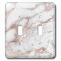 Jazzy Wallplates - Marble - Double Toggle Wallplate With Image Of Chic Gray Trendy Copper Rose Gold Marble Agate Gemstone Rock Quartz