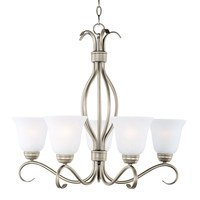 "Maxim Lighting - Basix - 26"" 5-Light Chandelier in Satin Nickel with Ice Glass"
