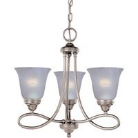 "Maxim Lighting - Nova - 18"" 3-Light Chandelier in Satin Nickel with Marble Glass"