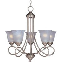 "Maxim Lighting - Nova - 25"" 5-Light Chandelier in Satin Nickel with Marble Glass"