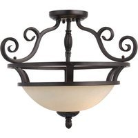 "Maxim Lighting - Manor - 19 1/2"" 2-Light Semi-Flush Mount in Oil Rubbed Bronze with Frosted Ivory Glass"