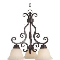 "Maxim Lighting - Manor - 19"" 3-Light Chandelier in Oil Rubbed Bronze with Frosted Ivory Glass"