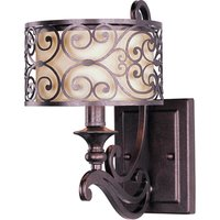 "Maxim Lighting - Mondrian - 7"" 1-Light Wall Sconce in Umber Bronze with an Off-White Fabric Shade"