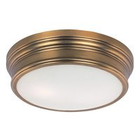 Maxim Lighting - Fairmont - Flush Mount in Natural Aged Brass with Satin White Glass