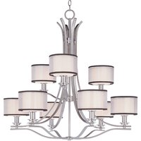 "Maxim Lighting - Orion - 35"" 9-Light Multi-Tier Chandelier in Satin Nickel with Satin White Glass and Sheer Charcoal Shades"