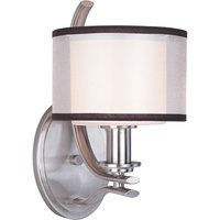 """Maxim Lighting - Orion - 6 1/2"""" 1-Light Wall Sconce in Satin Nickel with Satin White Glass and a Sheer Charcoal Shade"""