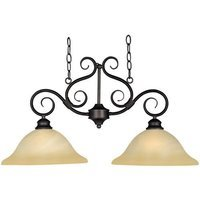 "Maxim Lighting - Pacific - 13"" 2-Light Island Pendant in Kentucky Bronze with Wilshire Glass"